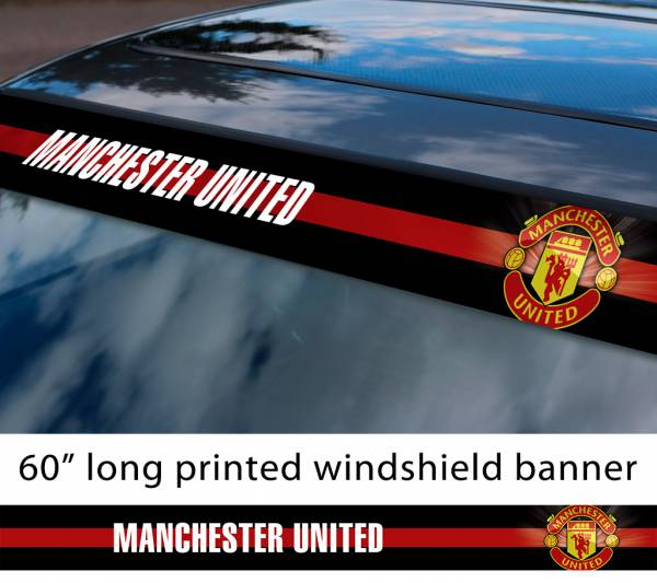 "60"" Manchester United Man Utd Old Trafford FC Logo Premier League Football Sun Strip Printed Windshield Car Vinyl Sticker Decal"