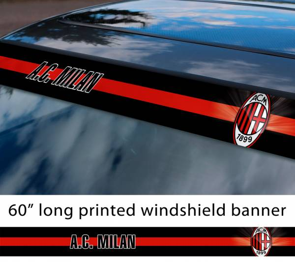 "60"" Milan AC FC Logo Italian Serie A Football Sun Strip Printed Windshield Car Vinyl Sticker Decal"