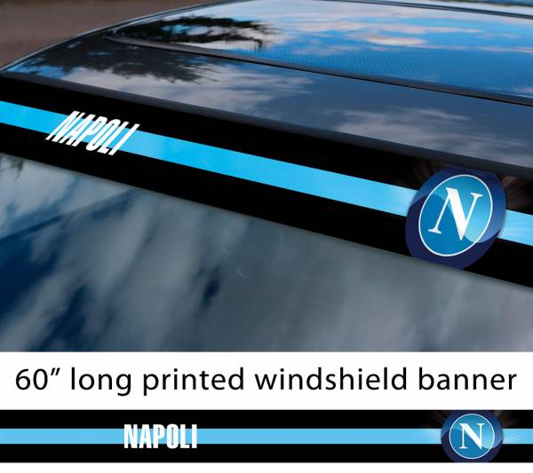 "60"" Napoli FC Naples Logo Italian Serie A Football Sun Strip Printed Windshield Car Vinyl Sticker Decal"