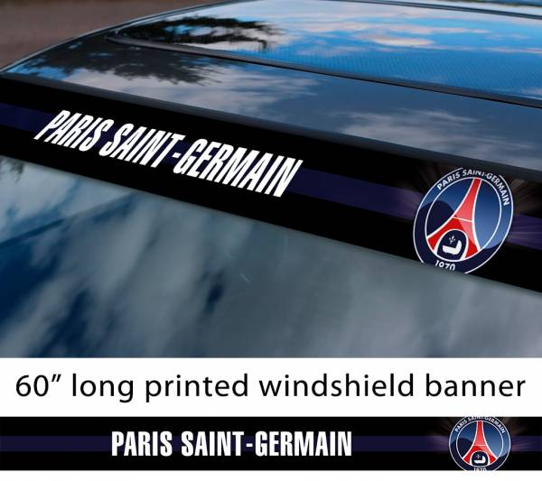 "60"" PSG Paris Saint Germain FC Logo France Ligue 1 One Football Sun Strip Printed Windshield Car Vinyl Sticker Decal"