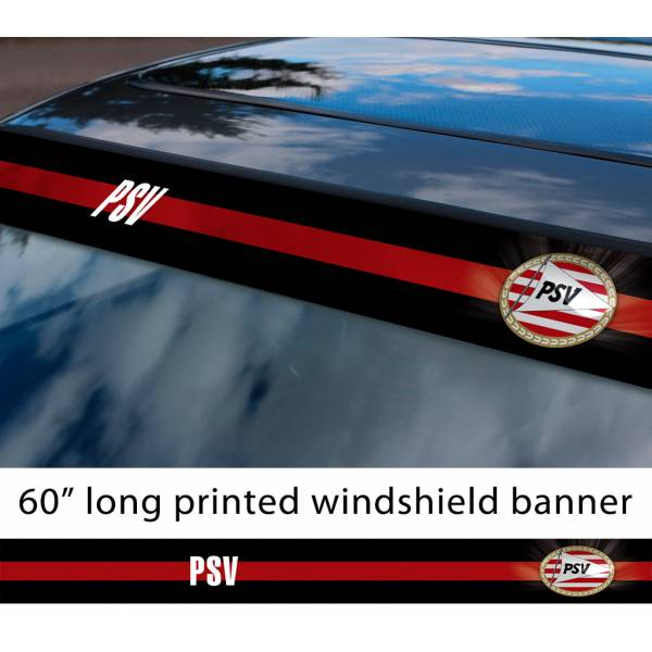 "60"" PSV Eindhoven Logo FC Eredivisie Football Sun Strip Printed Windshield Car Vinyl Sticker Decal"