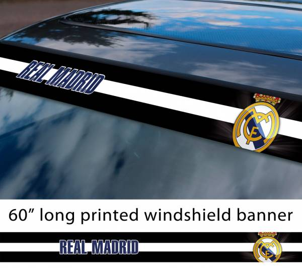 "60"" Real Madrid CR7 Christiano Ronaldo FC Logo La Liga Spanish Football Sun Strip Printed Windshield Car Vinyl Sticker Decal"