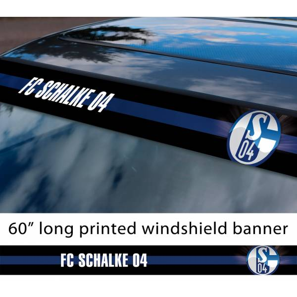 "60"" Schalke 04 FC Logo Bundesliga Football Sun Strip Printed Windshield Car Vinyl Sticker Decal"