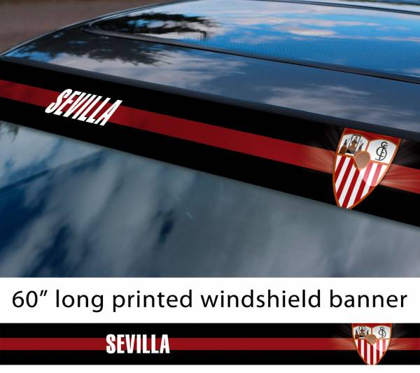 "60"" Sevilla FC Logo La Liga Spanish Football Sun Strip Printed Windshield Car Vinyl Sticker Decal"