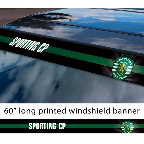 "60"" Sporting CP SCP Lisbon Logo FC Porugal Football Sun Strip Printed Windshield Car Vinyl Sticker Decal"
