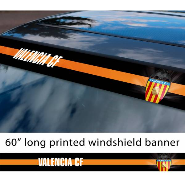 "60"" Valencia CF FC Logo La Liga Spanish Football Sun Strip Printed Windshield Car Vinyl Sticker Decal"