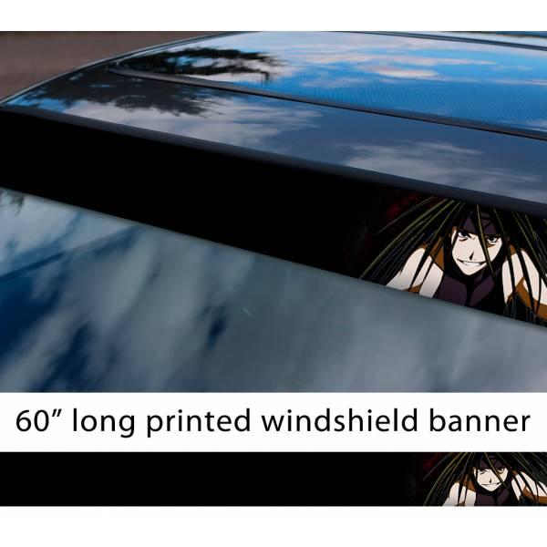 "60"" Fullmetal Alchemist v2 Ed Al Elric Homunculus Envy Lust Pride Anime Sun Strip Printed Windshield Car Vinyl Sticker Decal>"