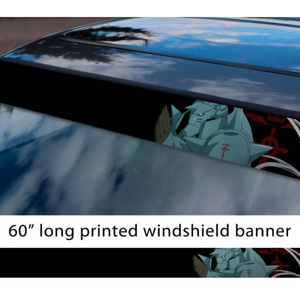 "60"" Fullmetal Alchemist v4 Ed Al Elric Homunculus Envy Lust Pride Anime Sun Strip Printed Windshield Car Vinyl Sticker Decal>"