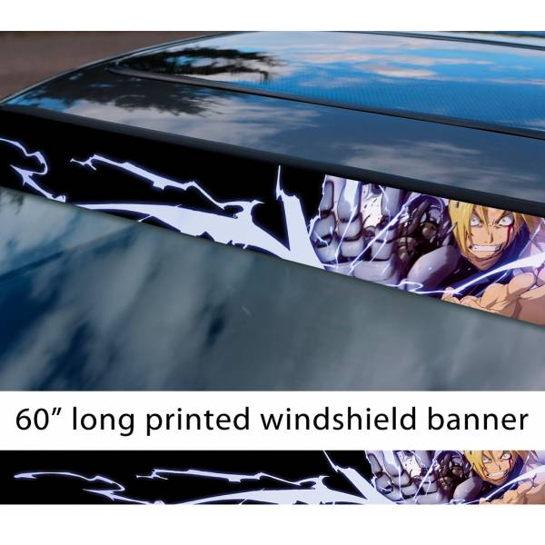 "60"" Fullmetal Alchemist v5 Ed Al Elric Homunculus Envy Lust Pride Anime Sun Strip Printed Windshield Car Vinyl Sticker Decal>"