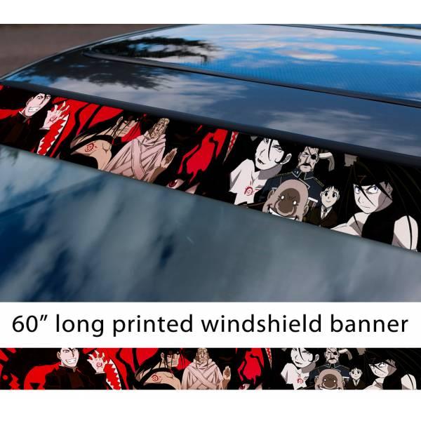 "60"" Fullmetal Alchemist v7 Ed Al Elric Homunculus Envy Lust Pride Anime Sun Strip Printed Windshield Car Vinyl Sticker Decal>"