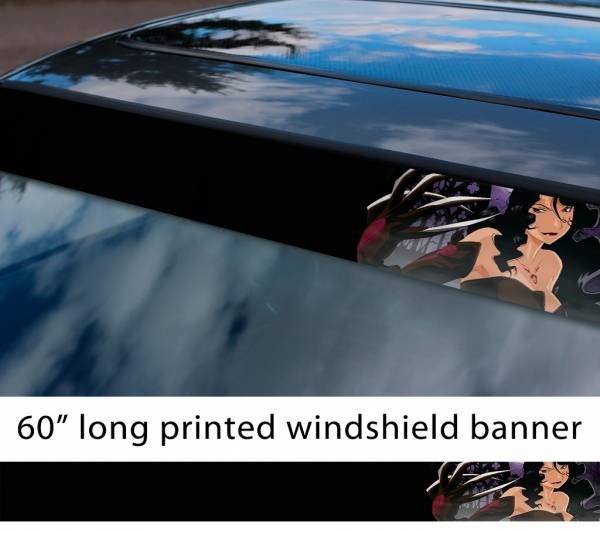 "60"" Fullmetal Alchemist v9 Ed Al Elric Homunculus Envy Lust Pride Anime Sun Strip Printed Windshield Car Vinyl Sticker Decal"