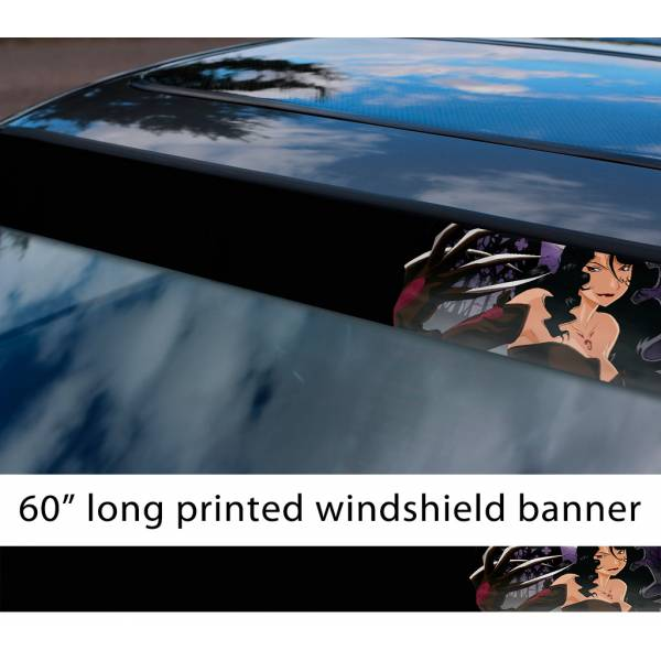 "60"" Fullmetal Alchemist v9 Ed Al Elric Homunculus Envy Lust Pride Anime Sun Strip Printed Windshield Car Vinyl Sticker Decal>"