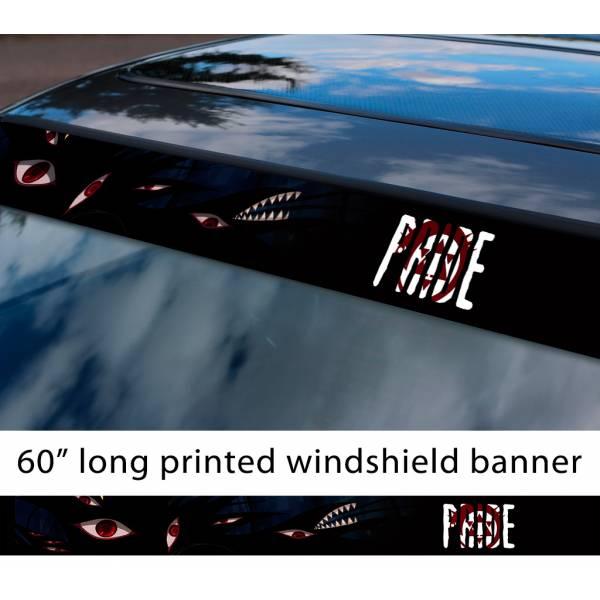 "60"" Fullmetal Alchemist v10 Ed Al Elric Homunculus Envy Lust Pride Anime Sun Strip Printed Windshield Car Vinyl Sticker Decal>"