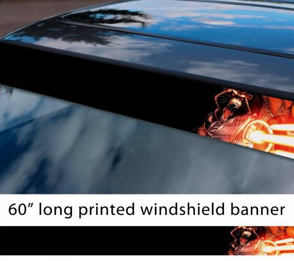"60"" Guardians of the Galaxy Raccoon Rocket Guns Groot Comic Marvel Sun Strip Printed Car Vinyl Sticker Decal"