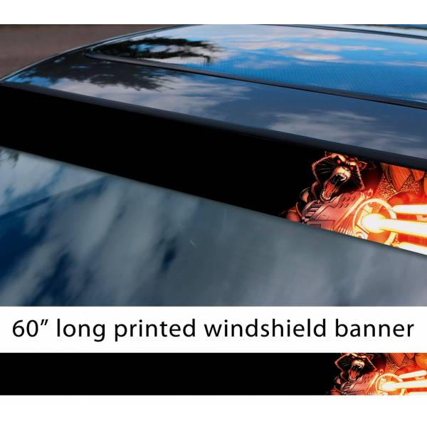 "60"" Guardians of the Galaxy Raccoon Rocket Guns Groot Comic Marvel Sun Strip Printed Car Vinyl Sticker Decal"