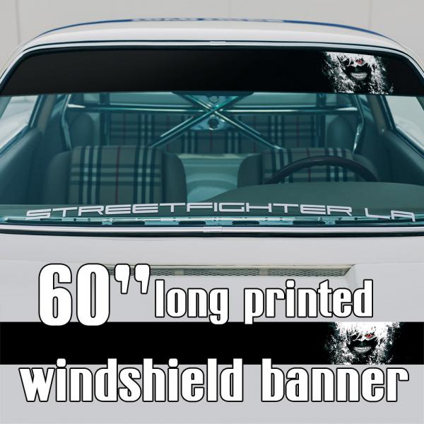 "60"" Ken Kaneki v3 Mask Blood Manga Anime Sun Strip Printed Windshield Car Vinyl Sticker Decal>"