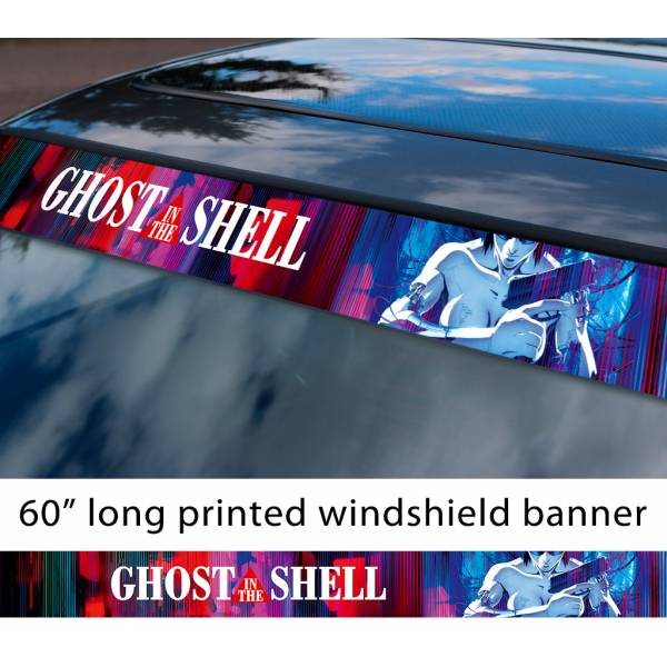 "60"" Ghost In The Shell v2 Logo Major Motoko Kusanagi Cyborg Public Security Section 9 Sexy Anime Manga Movie Smoke Sun Strip Printed Windshield Car Vinyl Sticker Decal"