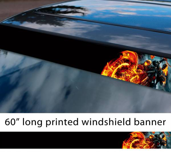 "60"" Ghost Rider Skull Flame Phantom Comic Marvel Sun Strip Printed Car Vinyl Sticker Decal"