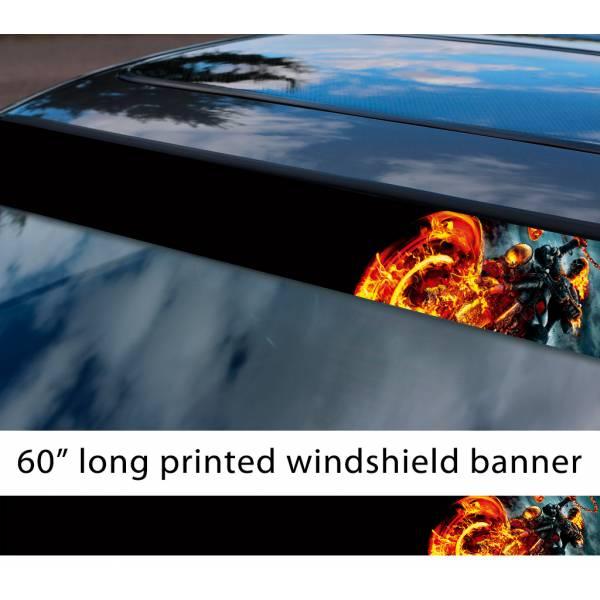 "60"" Ghost Rider Skull Flame Phantom Comic Marvel Sun Strip Printed Car Vinyl Sticker Decal"
