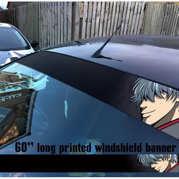 "60"" Gintama v1 Sakata Gintoki Yorozuya Shiroyasha White Demon Gin Tama Silver Soul Anime Manga Printed Windshield Car Vinyl Sticker Decal>"