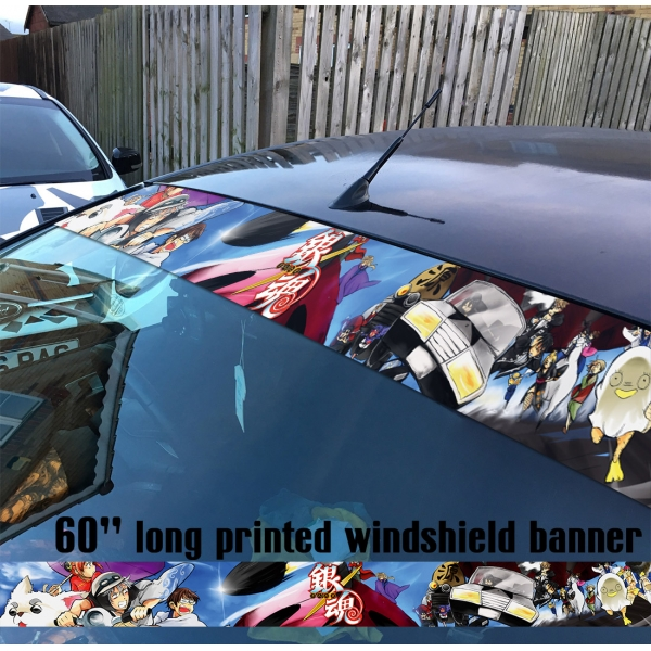 """60"""" Gintama v13 Sakata Gintoki Kagura Shimura Shinpachi Sadaharu Elizabeth Amanto Yorozuya Anime Manga Printed Windshield Car Vinyl Sticker Decal>"""