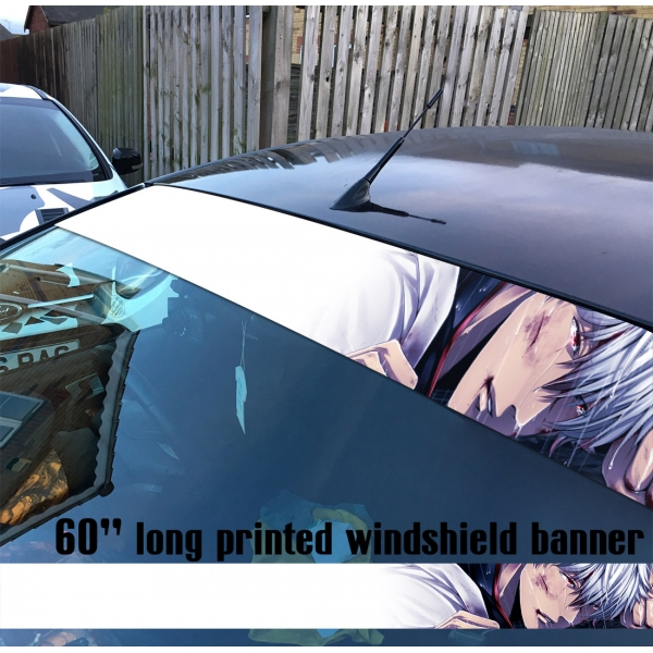 "60"" Gintama v2 Sakata Gintoki Yorozuya Shiroyasha White Demon Gin Tama Silver Soul Anime Manga Printed Windshield Car Vinyl Sticker Decal>"