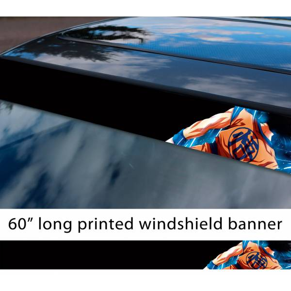 "60"" Dragon Ball Goku Black Saiyan Super ドラゴンボール Manga Anime Sun Strip Printed Windshield Car Vinyl Sticker Decal"