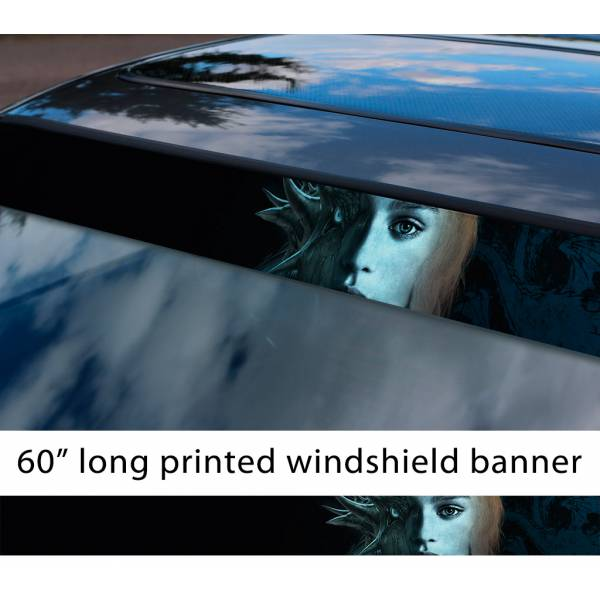 "60"" Daenerys Targaryen v1 Dragon Dracarys Game Thrones GoT Sun Strip Printed Windshield Car Vinyl Sticker Decal"