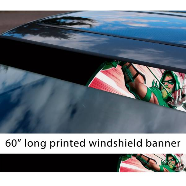 "60"" Green Arrow Oliver Ollie Queen Batman Comics Superhero DC Sun Strip Printed Windshield Car Vinyl Sticker Decal"