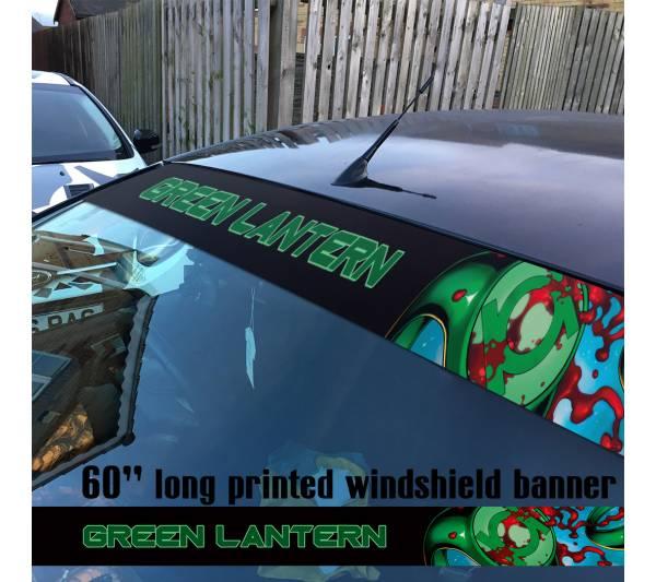 "60"" Green Lantern Ring DC Comics Logo Sun Strip Printed Windshield Car Vinyl Sticker Decal"
