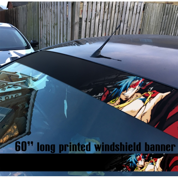 "60"" Gurren Lagann Kamina v2 Team Dai-Gurren Simon Beastmen Lordgenome Tengen Toppa Gunmen Anime Printed Windshield Car Vinyl Sticker Decal"