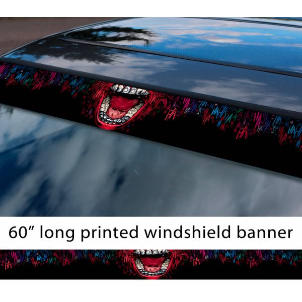 "60"" Joker Smile Suicide Squad Harley Hahaha DC Why Seriuos Sun Strip Printed Windshield Car Vinyl Sticker Decal"