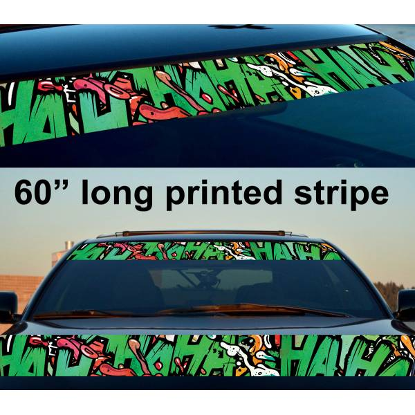 "60"" Hahaha Graffiti Insane Funny Why So Serious Suicide Sun Strip Printed Windshield Car Vinyl Sticker Decal>"