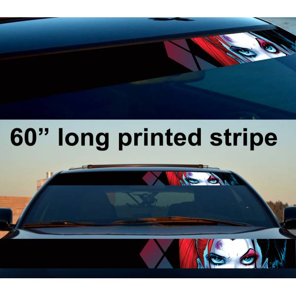 "60"" Harley Quinn Logo Look Eyes Suicide Squad Sun Strip Printed Windshield Car Vinyl Sticker Decal"
