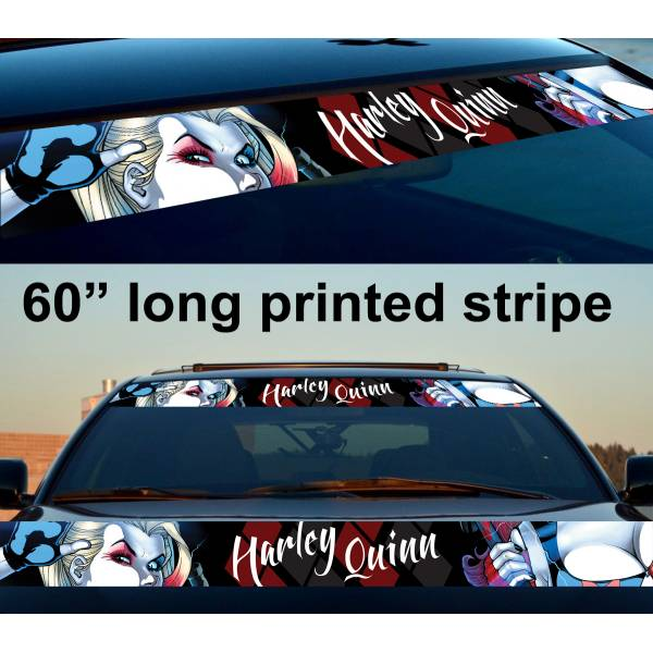"60"" Harley Quinn Suicide Squad Bad Girl Sun Strip Printed Windshield Car Vinyl Sticker Decal"