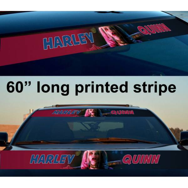 "60"" Harley Quinn Good Night Puddin' DC Suicide Squad Sun Strip Printed Windshield Car Vinyl Sticker Decal"