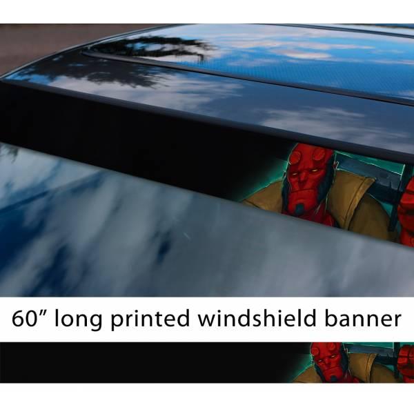 "60"" Hellboy v1 Hell Superhero Anung un Rama Comics Sun Strip Printed Windshield Graphics Vinyl Sticker Decal>"