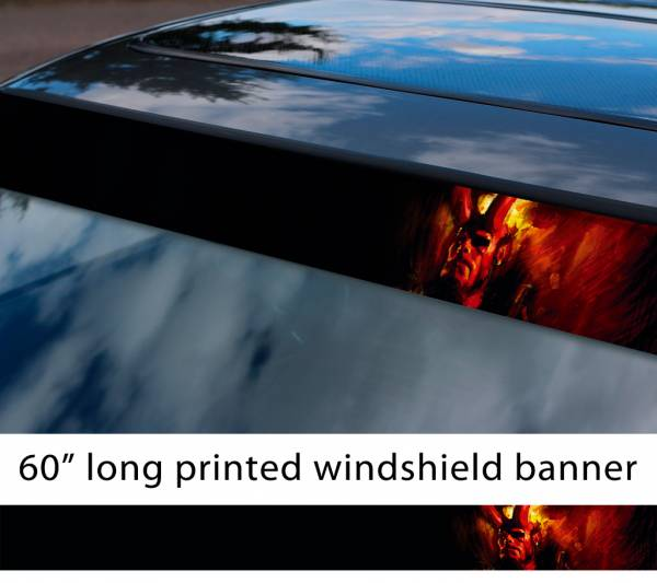 "60"" Hellboy v2 Hell Superhero Anung un Rama Comics Sun Strip Printed Windshield Graphics Vinyl Sticker Decal"