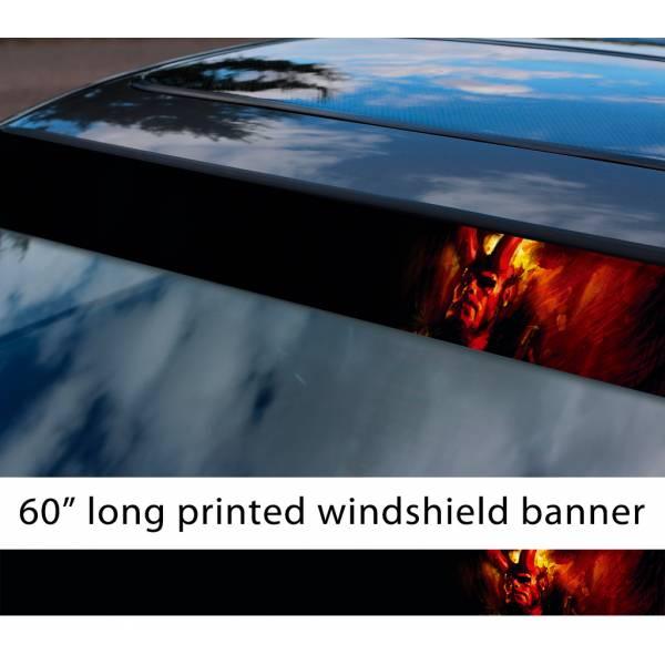 "60"" Hellboy v2 Hell Superhero Anung un Rama Comics Sun Strip Printed Windshield Graphics Vinyl Sticker Decal"