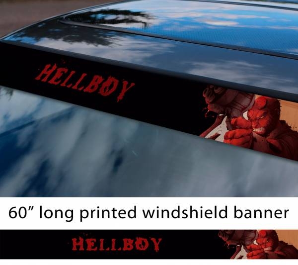 "60"" Hellboy v4 Hell Superhero Anung un Rama Comics Sun Strip Printed Windshield Graphics Vinyl Sticker Decal"