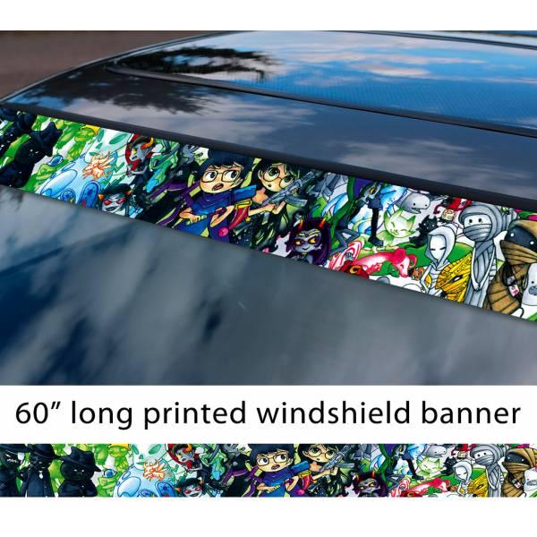 "60"" Homestuck v3 Karkat Vriska Kanaya Terezi Aradia Nepeta John Egbert Honk TV Show Sun Strip Printed Windshield Car Vinyl Sticker Decal"