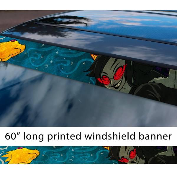 "60"" Homestuck v4 Terezi Pyrope Seer of Mind Troll Honk TV Show Sun Strip Printed Windshield Car Vinyl Sticker Decal"