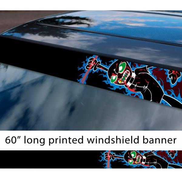 "60"" Homestuck v5 Jack Noir Black Agent Derse Sburb Kids TV Show Sun Strip Printed Windshield Car Vinyl Sticker Decal"