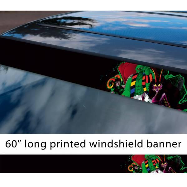 "60"" Homestuck v6 Green Skull Cherub Caliborn Lord English TV Show Sun Strip Printed Windshield Car Vinyl Sticker Decal"