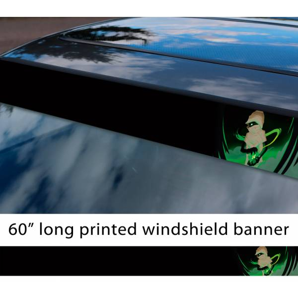 "60"" Homestuck v7 Jack Noir Black Agent Derse Sburb Kids TV Show Sun Strip Printed Windshield Car Vinyl Sticker Decal>"