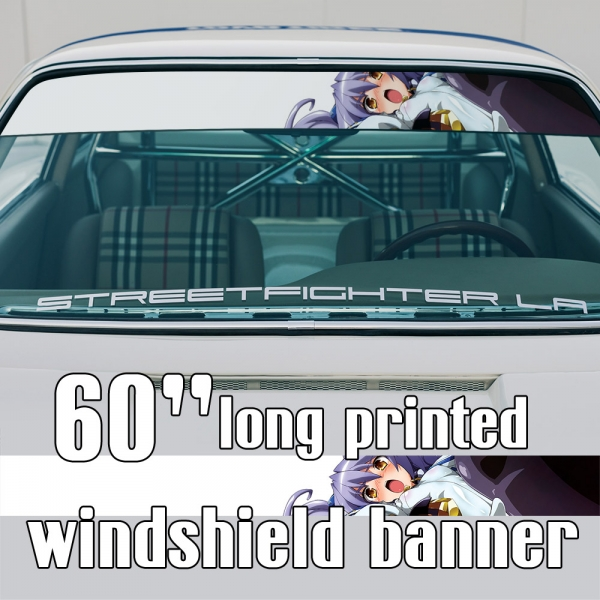 "60"" Nate Mitotsudaira v1 Werewolf Musashi Ariadust Academy Chancellor Board Mitotsudaira Clan Sexy Hot Anime Manga Girl Sun Strip Printed Windshield Car Vinyl Sticker Decal>"