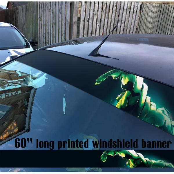 "60"" Bruce Banner Angry v1 Superhero Comic Sun Strip Printed Windshield Car Vinyl Sticker Decal>"