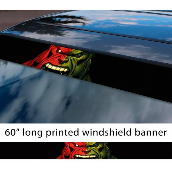 "60"" The Hulk Angry v2 Superhero Bruce Banner Marvel Comics Sun Strip Printed Windshield Car Vinyl Sticker Decal"