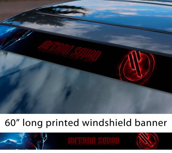 """60"""" Inferno Squad v2 Logo Star Wars TIE Fighter Galactic Empare First Order Sun Strip Printed Car Vinyl Sticker Decal"""