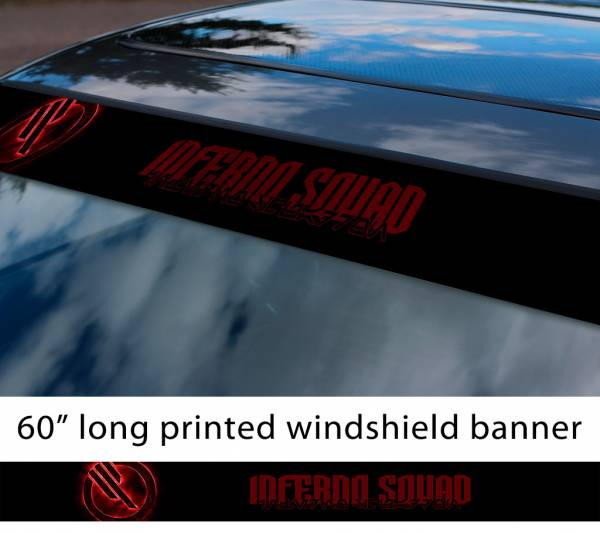 """60"""" Inferno Squad v1 Logo Star Wars TIE Fighter Galactic Empare First Order Sun Strip Printed Car Vinyl Sticker Decal"""